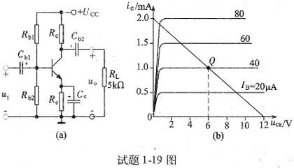 在试题1-6图正弦交流电路中,当u=40sinωtv,i=4sinωt