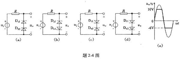 题2-4图(a)~(d)为稳压管组成的电路,已知ui=20sinω