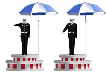 这一组交通警察手势是什么信号?()