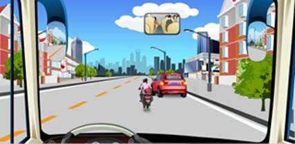 驾驶机动车遇到这种情况怎样行驶A.减速让非机动车先行B.连续鸣喇叭高清图片