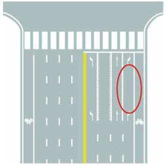 图中圈内白色实线是什么标线?()