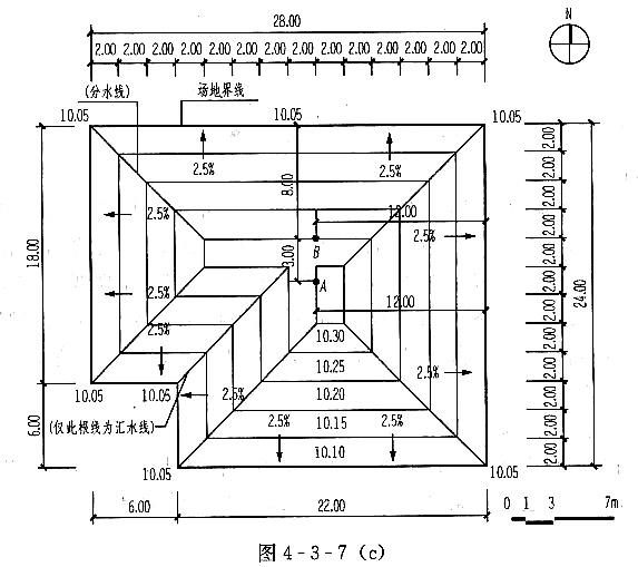 [设计条件] 某广场道路平面如图4-3-5(a)所示。 广场南北向及东西向坡度为1%,E、F点的标高为85.00。 道路纵坡为1.5%,横坡为2.5%。 设计要求广场及与广场相接的道路路面(道路中心线以北)的排水均朝向A、B点,道路纵横坡度不变,广场面与道路面在广场范围内无高差衔接。 [任务要求] 画出等高距为0.