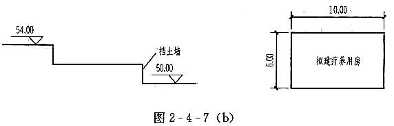 [设计条件] 某坡地平面,如图4-3-9(a)所示。 已知一雕塑平台的标高为98.50m,A、B点标高为100.00m。 场地地面排水坡度均为10%,雨水排向D、F两点。以96.00m标高作为分水线、汇水线的起始点,分水线、汇水线位置如图4-3-9(a)所示。 [任务要求] 根据设计条件,从100.00标高开始绘制等高距为0.