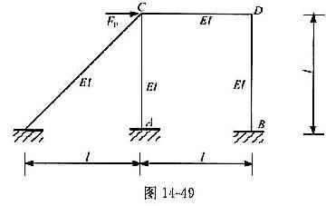 图14-49所示超静定刚架结构,cd杆的内力情况为( ).
