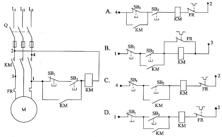 控制电路的错误接线不能使电动机m起动