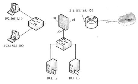 5接入internet,另外有两台服务器提供web服务和ftp