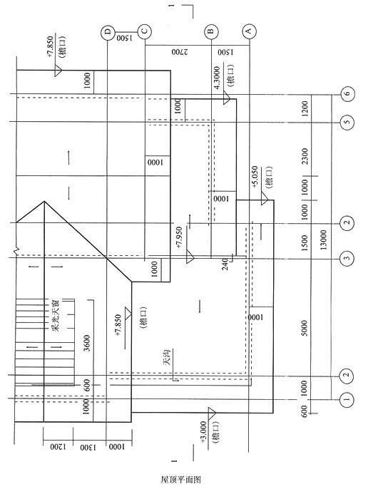 标注窗洞底,窗洞顶,檐口,屋脊,③轴屋面板顶的结构标高,标注栏杆高度.