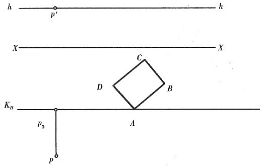已知长方形abcd位于h内,且a点的基线xx上,求作长方形的透视图.图片