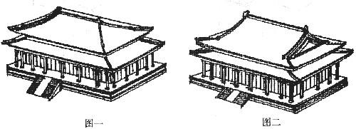 参考答案图一:重檐庑殿顶;图二:重檐歇山顶;图三:单